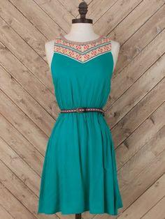 Emerald Envy Belted Dress