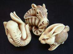 Netsukes - Elephant, Zebra, Rabbit