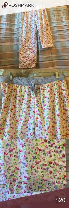 Victoria's Secret Pajama pants/capri's, Size M These have never fit me. Pant legs have small blue buttons so you can fold the legs up to make them shorter. Size M Victoria's Secret Intimates & Sleepwear Pajamas
