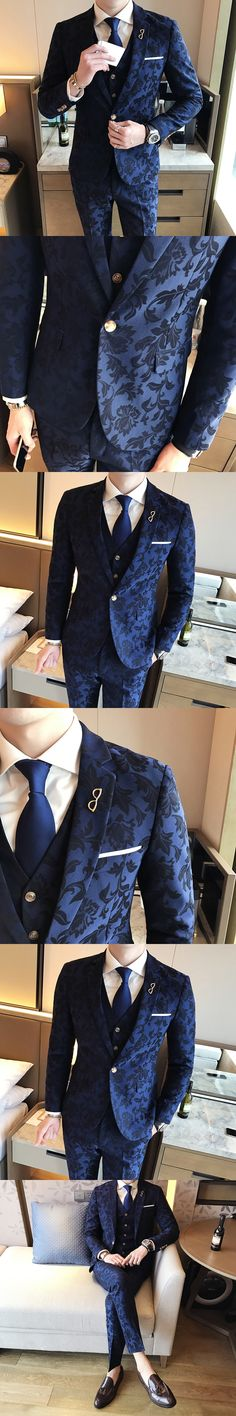 Smoking Jackets Mens Royal Blue Suits 2017 Men Suits Slim Fit British Style Tuxedo Print Wedding Mens Dinner Jackets Social Club