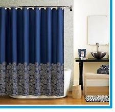 fabric Navy blue fabric Shower Curtain