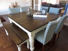 15 Narrow Dining Tables for Small Spaces (Gallery Ideas) Table For Small Space, Small Spaces, Long Narrow Dining Table, Farmhouse Style Dining Table, Farmhouse Interior, Dining Room Design, Home Projects, Kitchen Remodel, Home Decor
