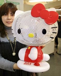 This Hello Kitty electric fan in her room but kittys jumper is blue