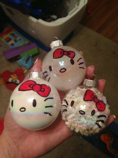 Hello kitty diy ornaments- contact me to order supply kit or completed product! LexiJosh at gmail Painted Ornaments, Diy Christmas Ornaments, Christmas Projects, Holiday Crafts, Christmas Bulbs, Christmas Decorations, Lightbulb Ornaments, Ornaments Ideas, Glitter Ornaments
