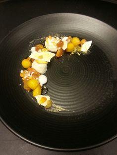 Apricot, meringue, sheep cheese