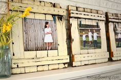 """Sweet way to frame up pictures... using old fencing. Easy DIY project and good way to upcycle old fencing. """"Reduce-Reuse-Recycle """" """" Spring Chic Picket Mantel"""" via It's Overflowing. {Home Decor} {Photography} {Photo Wall Displays} ahhhh love this! @Amy Lyons Mincks"""