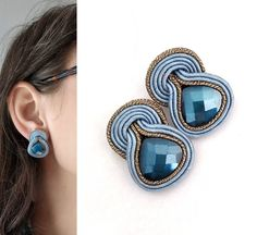 Excited to share the latest addition to my shop: Denim clip on earrings, earrings Orecchini soutache studs denim blue, light blue earrings, sutaszula, black friday jewelry Small Earrings, Pink Earrings, Clip On Earrings, Earrings Handmade, Handmade Jewelry, Etsy Jewelry, Jewelry Sets, Fine Jewelry, Jewelry Rings