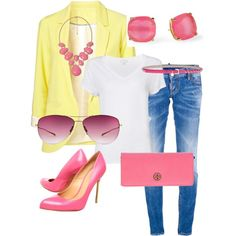 """yellow & coral"" by karenamber on Polyvore"
