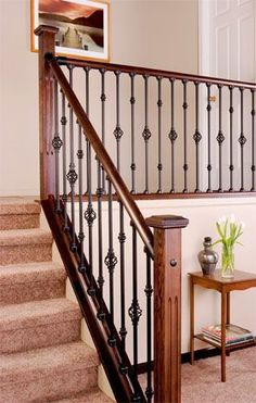 Interior stair railing kits represent the horizontal surfaces stepped up and dropped a staircase. Formal stairs typically have a decorative start. Indoor Stair Railing, Wood Railings For Stairs, Stair Railing Kits, Interior Stair Railing, Wrought Iron Stair Railing, Stair Railing Design, Home Stairs Design, Staircase Railings, Banisters