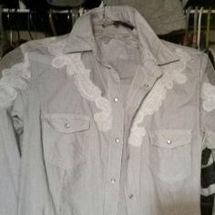 Guess women long sleeve shirt Beautiful shirt women size small blue stripes..nwt... Guess Tops