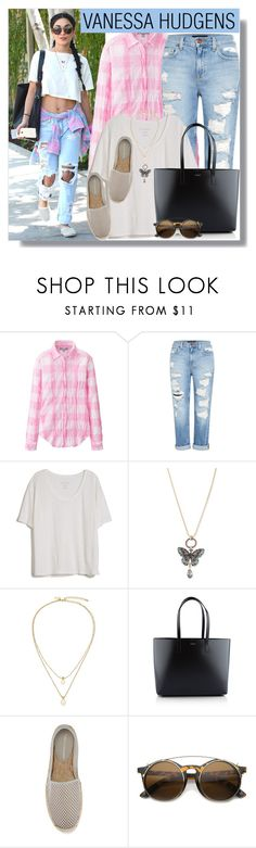 """""""Vanessa Hudgens in Boyfriend Jeans"""" by anne-mclayne ❤ liked on Polyvore featuring Uniqlo, Genetic Denim, Fine Collection, Betsey Johnson, Kate Spade, Yves Saint Laurent and Rebecca Minkoff"""