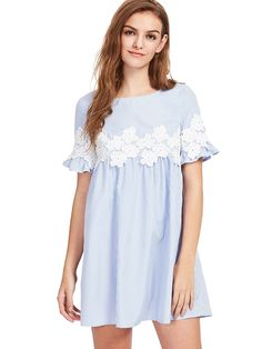 ROMWE Women's Striped Floral Lace Ruffle Short Sleeve Babydoll A Line Dress at Amazon Women's Clothing store: