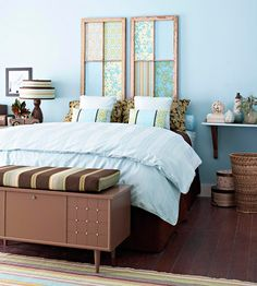 Headboard Made From Old Windows