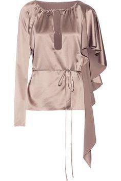 JUAN CARLOS OBANDO Ruffled asymmetric silk-satin top. #juancarlosobando #cloth #tops