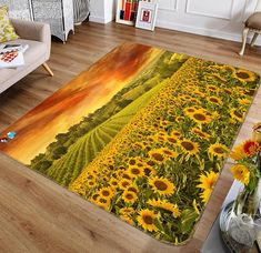 Non-Slip 3D Sunflower Area Rug by AJWALLPAPERS. Artistic sunflower area rugs. #sunflowers #arearugs #funkthishouse