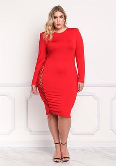 Plus Size Clothing | Plus Size Side Lace Up Bodycon Dress | Debshops
