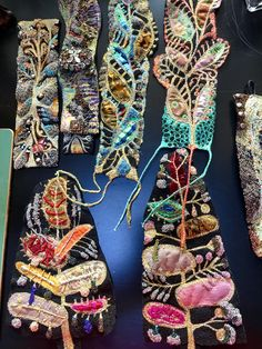 Work in progress. getting ready for the upcoming exhibition in Novi Sad, Serbia July 2017 Embroidery Bracelets, Bead Embroidery Jewelry, Textile Jewelry, Fabric Jewelry, Beaded Embroidery, Hand Embroidery, Jewellery, Free Motion Embroidery, Machine Embroidery Applique