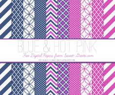 Free Digital Paper Set: Blue and Hot Pink