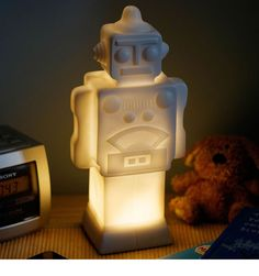 Robot shaped lamp available at Children's Rooms Ceiling Shades, Lamp Shades, Toddler Night Light, Cool Bedrooms For Boys, Childrens Lamps, Double Duvet, Bedroom Accessories, Bedroom Themes, Boy Room