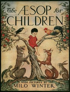 Aesop for Children. Illustrated By Milo Winter. Rand McNally & Co., Chicago, 1919. First edition. Pictorial cover. Original dust jacket. Aesop's fables told for young children. Illustrated in color on every page including 12 particularly vibrant full page color plates. Winter's greatest work was the oversize books he illustrated for Rand McNally from the late teens like the Aesop. Winter was a master of drawing animals that were anatomically accurate, yet still full of personality and life.