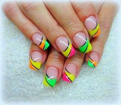 Neon French tips Nails