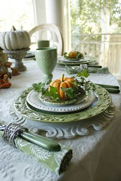 Fall Tablescape....looks like they used the same sage colored plates.