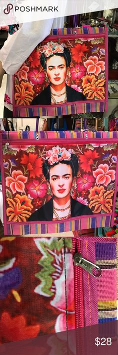 Frida Kahlo Mesh Shopping Bag Mexican Morral Tote New, very good size to go Shopping! Mesh material with exterior zippered full size pocket. The design features Mexican artist Frida Kahlo and a colorful background inspired in the embroidery style of Oaxaca. I have more designs available. Cielito Lindo Bags Totes