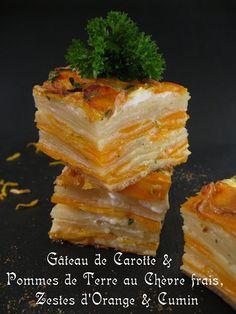 J'en reprendrai bien un bout...: Gâteau de carotte & Pomme de Terre au chèvre frais, Zestes d'Orange & Cumin