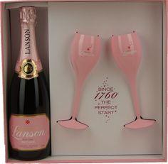 Geschenkdoos Lanson Rosé Brut met twee roze Champagne glazen - Champagne A.O.P. | Dewit Wijnen
