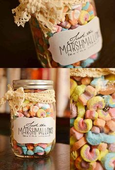 Just marshmallows in a jar...Omg I LOVE Lucky Charms Marshmallows! Who wants to give me a gift like this???