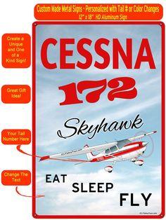 556bdf92b39 Cessna 172 (Red Silver) Custom HD Airplane Sign Cessna 172