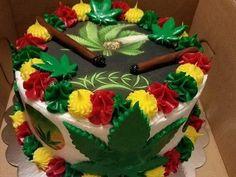 Cookies and Cream Cannabis Cake Weed Birthday Cake, Adult Birthday Cakes, 14th Birthday Cakes, 21st Birthday, Anniversaire Bob Marley, Cupcakes, Cupcake Cakes, Rasta Cake, Rasta Party