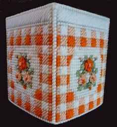 Beautiful Tissue Box Cover GINGHAM with floral by NiftyStitches4U