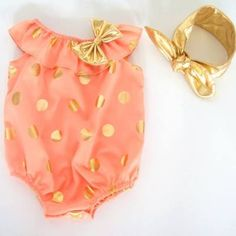 Girls Peach Gold Polka Dots Bubble Romper Boutique Outfit
