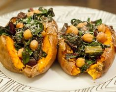 Sweet potatoes aren't just delicious and chock-full of nutrients, they're also easy to make. This colorful vegetable can be made in a variety of ways. Try this simple dinner with rainbow Swiss chard and chickpeas piled on top of a baked sweet potato.