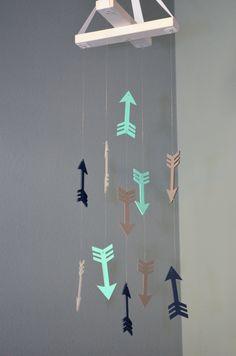 Arrow Nursery Mobile - Woodland Tribal Aztec Nursery - Mint Green Gray Navy Blue
