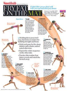 "8 pose sequence to help burn fat. ""Practice this routine four times a week and watch the fat melt away."""