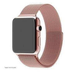 Pandawell Apple Watch Band Stainless Steel Replacement Watchband Strap Wrist Band with Adapter for Apple Watch & Sport & Edition - 38mm - Rose Gold