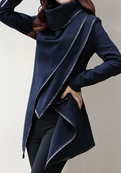The perfect navy lapel blazer featuring black faux leather-bound detailing and open front, zip finished at cuffs