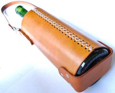 Customizable Leather Wine Tote by seattleleather on Etsy, $72.50