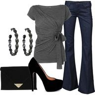Soft grey, flared pant and suede black heel