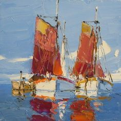 Boats. Oil. Palette knife. 16 x 16. Eric Paulsen