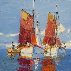 Boats. Oil. Palette knife. 16 x 16. Eric Paulsen