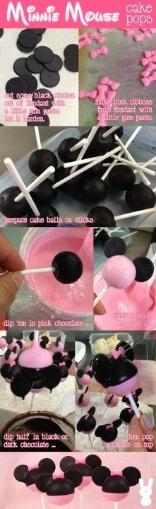 Minnie Cake Pops - Follow Picture for Directions (no link)... TIP: for smooth candy melts/melted chocolate, stir 1 tsp. Coconut oil into chocolate as you're melting it.  Works every time and seems so stay smooth longer, too.