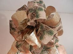 Lg Xmas tree topper bow gold glitter ribbon by creativelycarole