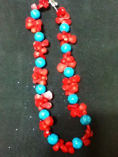 Red Corral & Turquoise Necklace by NotSoPerfectFriends on Etsy, $85.00