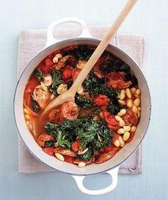 Bean and Chicken Sausage Stew | Get the recipe: http://www.realsimple.com/food-recipes/browse-all-recipes/bean-sausage-stew-10000001594327/index.html