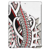 Tribal polynesian tattoo pattern with red accents iPad air covers