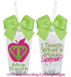 I Teach...Whats Your Superpower Teacher Appreciation 16oz Personalized Acrylic Tumbler