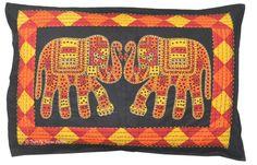 Black Elephant Pillow/Cushion Cover Hand Block Printed Cotton Sham Indian Decor | eBay